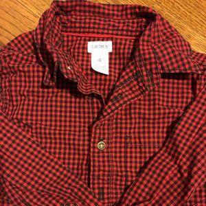 EUC boys Christmas button down shirt